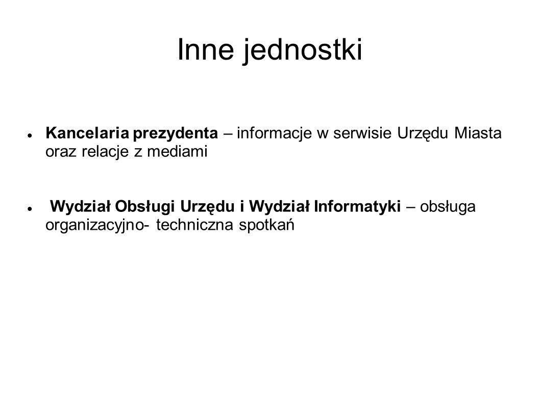 Inne jednostki Kancelaria prezydenta – informacje w serwisie Urzędu Miasta oraz relacje z mediami.