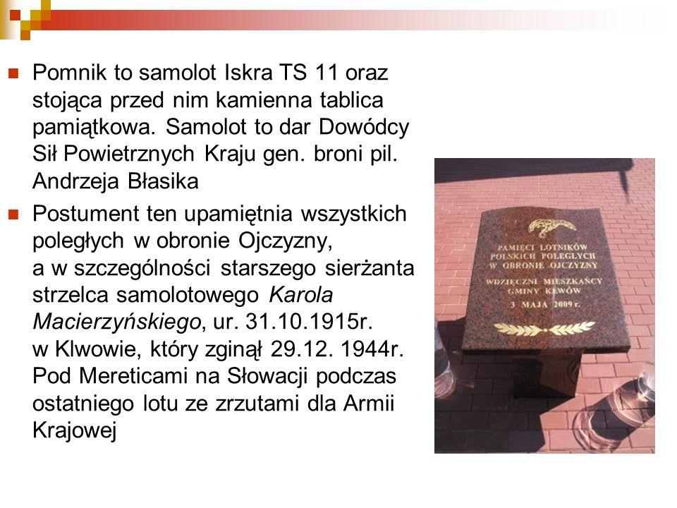 Pomnik to samolot Iskra TS 11 oraz stojąca przed nim kamienna tablica pamiątkowa. Samolot to dar Dowódcy Sił Powietrznych Kraju gen. broni pil. Andrzeja Błasika