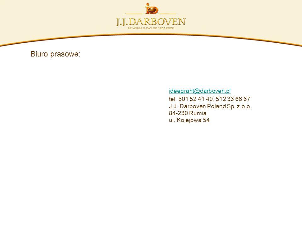 Biuro prasowe: ideegrant@darboven.pl tel. 501 52 41 40, 512 33 66 67