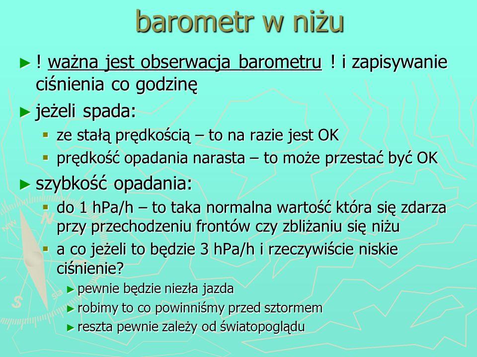 barometr w niżu ! ważna jest obserwacja barometru ! i zapisywanie ciśnienia co godzinę. jeżeli spada: