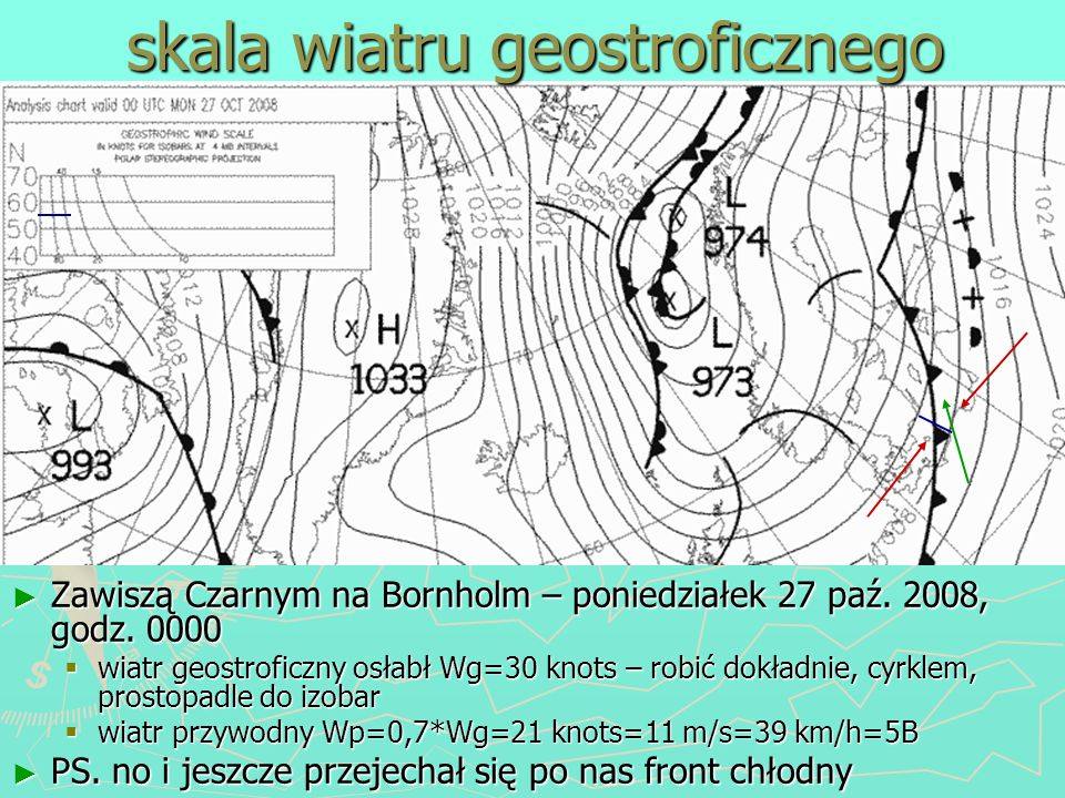 skala wiatru geostroficznego
