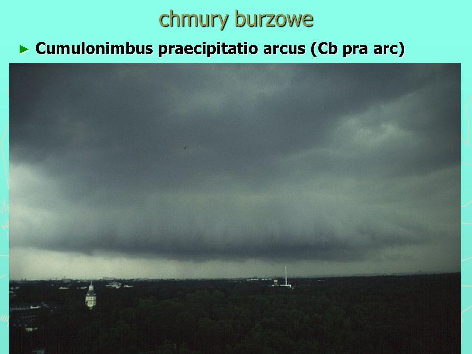 chmury burzowe Cumulonimbus praecipitatio arcus (Cb pra arc)