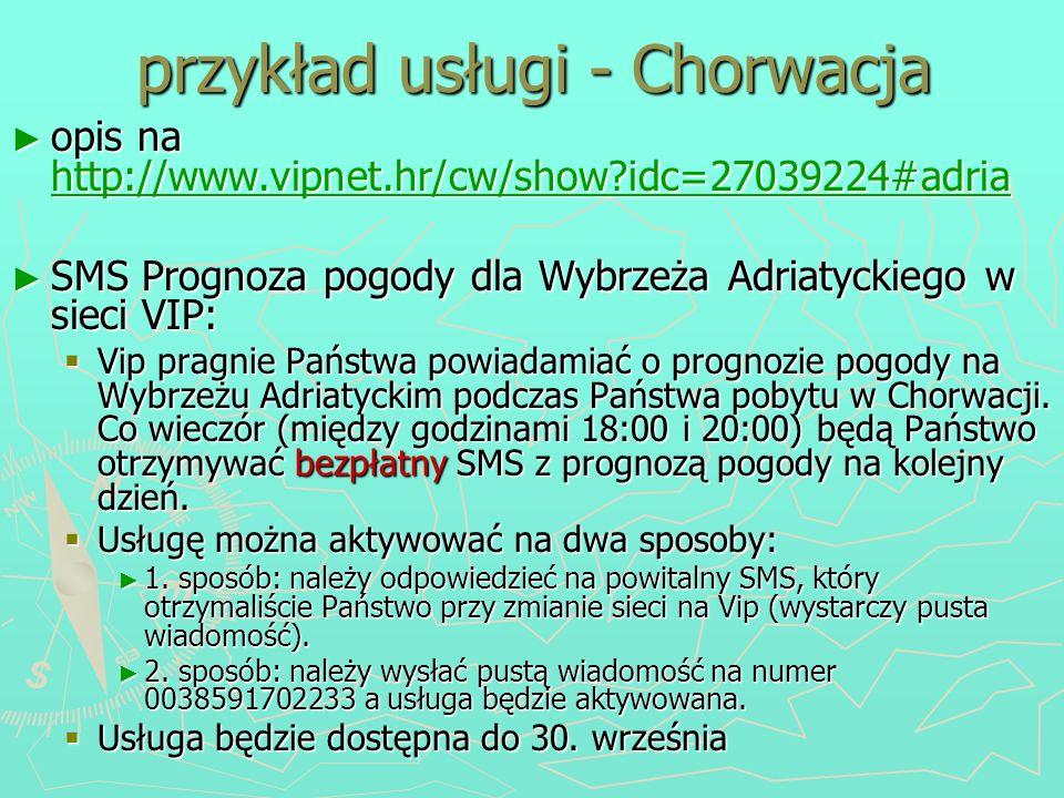 przykład usługi - Chorwacja