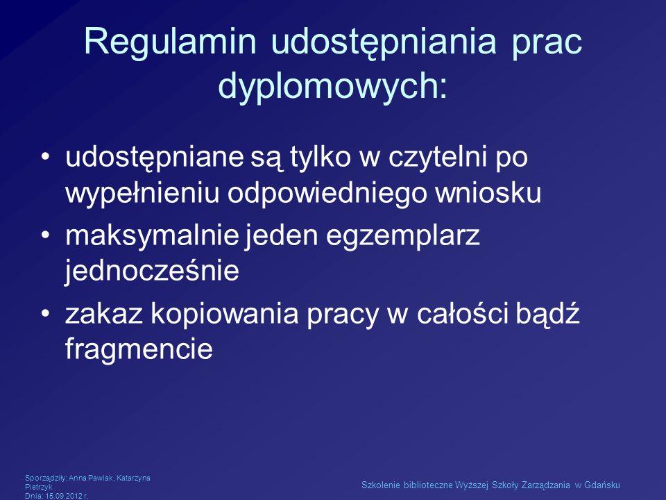Regulamin udostępniania prac dyplomowych: