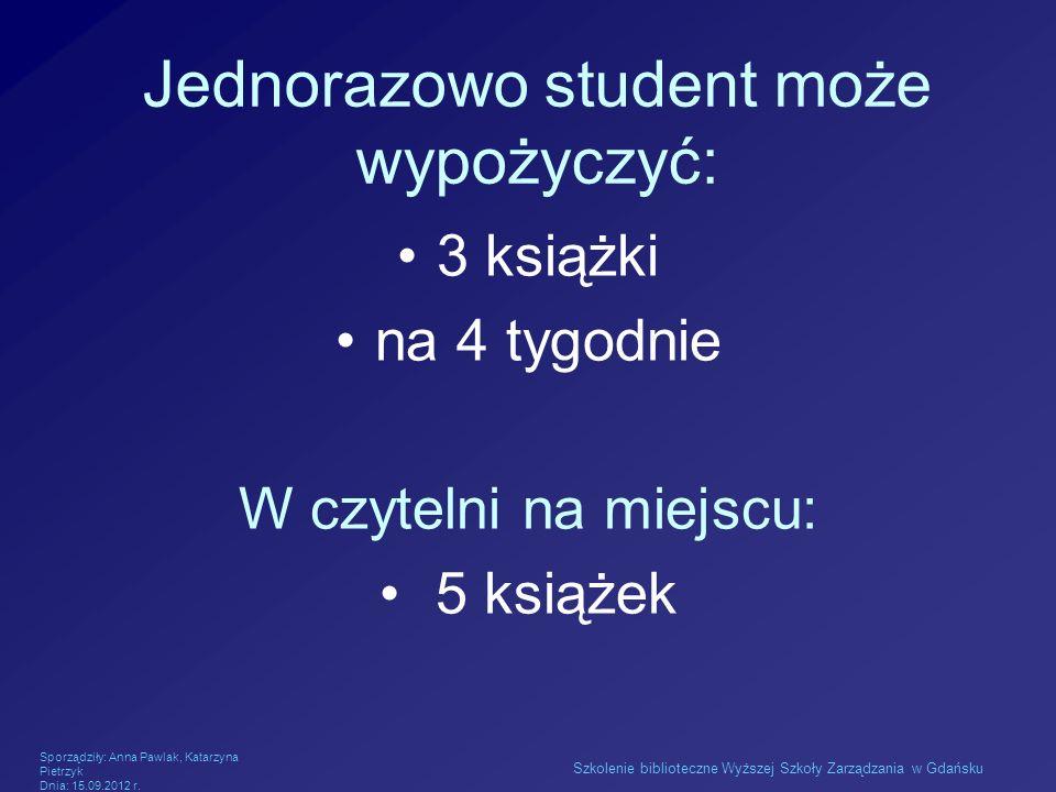 Jednorazowo student może wypożyczyć:
