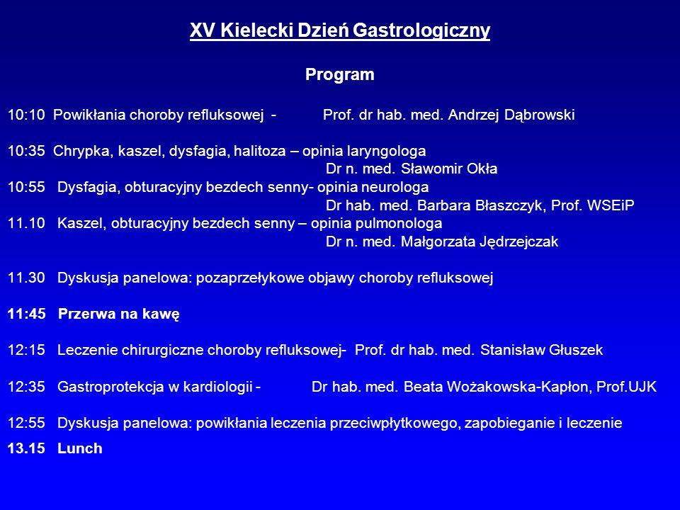 XV Kielecki Dzień Gastrologiczny Program