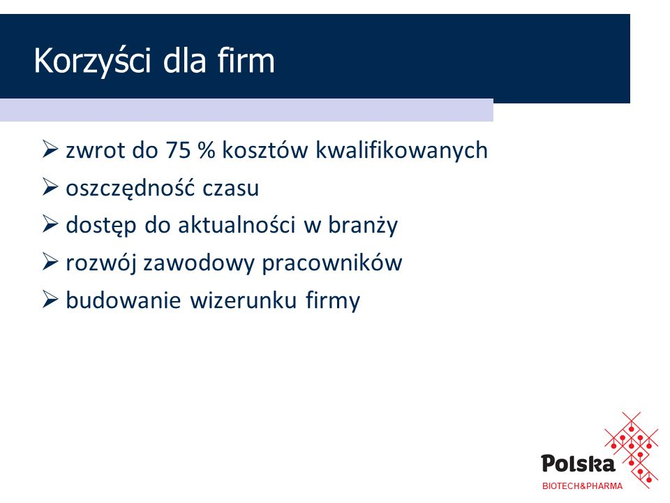 Korzyści dla firm zwrot do 75 % kosztów kwalifikowanych