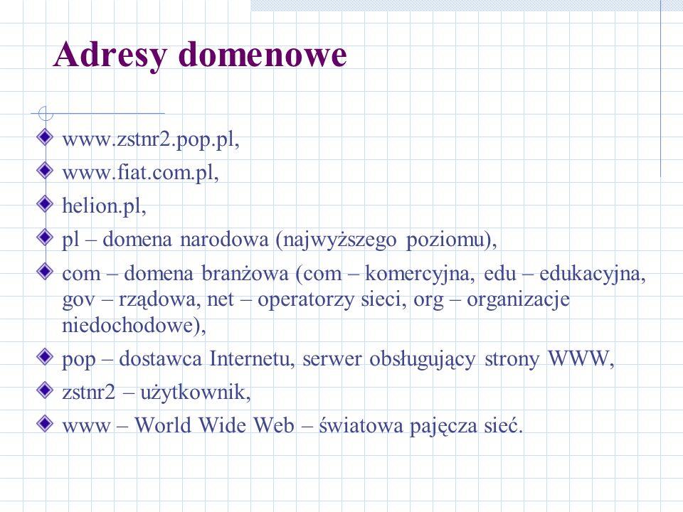Adresy domenowe www.zstnr2.pop.pl, www.fiat.com.pl, helion.pl,
