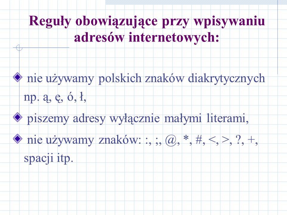 Reguły obowiązujące przy wpisywaniu adresów internetowych: