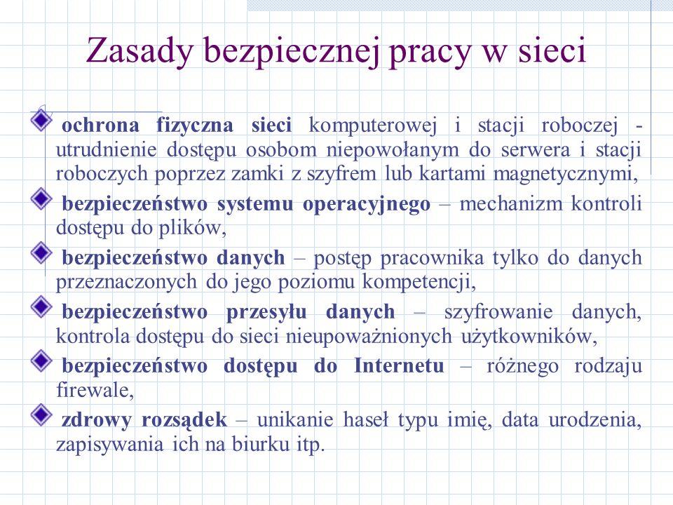 Zasady bezpiecznej pracy w sieci