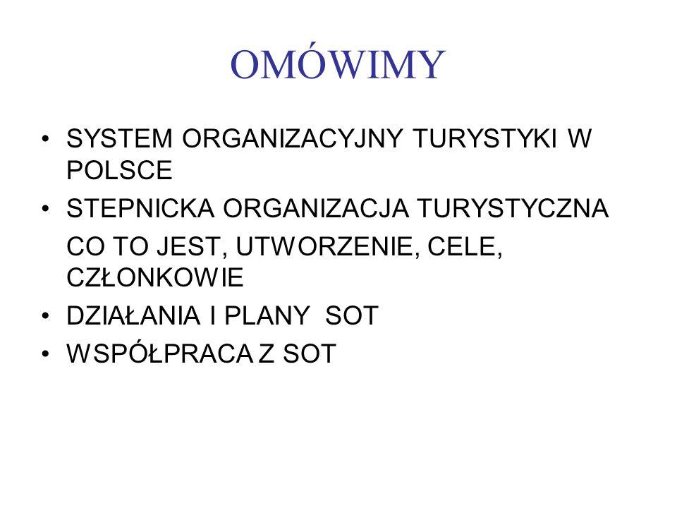 OMÓWIMY SYSTEM ORGANIZACYJNY TURYSTYKI W POLSCE