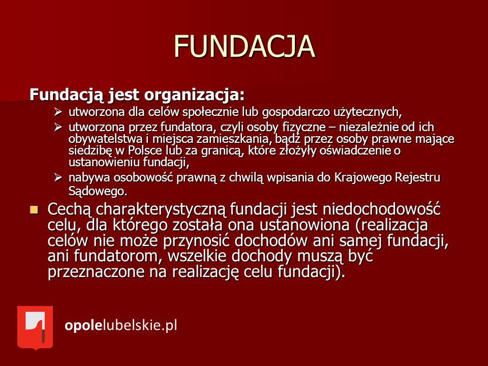 FUNDACJA Fundacją jest organizacja: