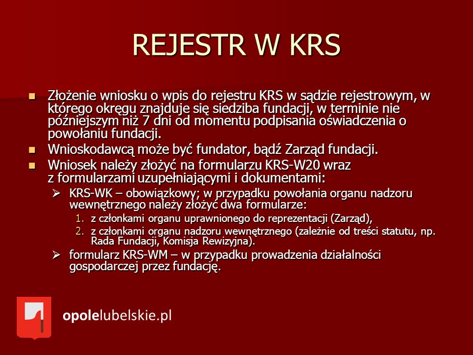 REJESTR W KRS opolelubelskie.pl