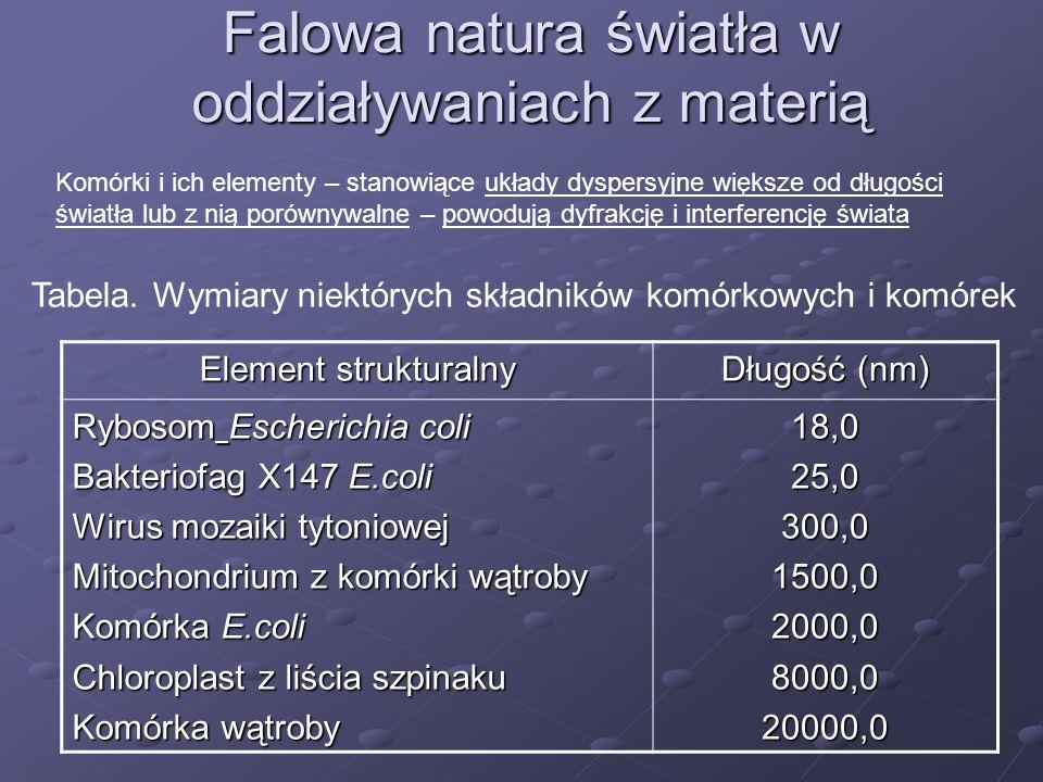 Falowa natura światła w oddziaływaniach z materią
