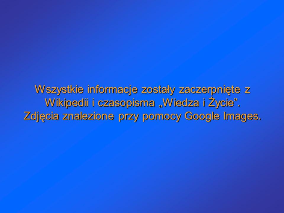 """Wszystkie informacje zostały zaczerpnięte z Wikipedii i czasopisma """"Wiedza i Życie ."""