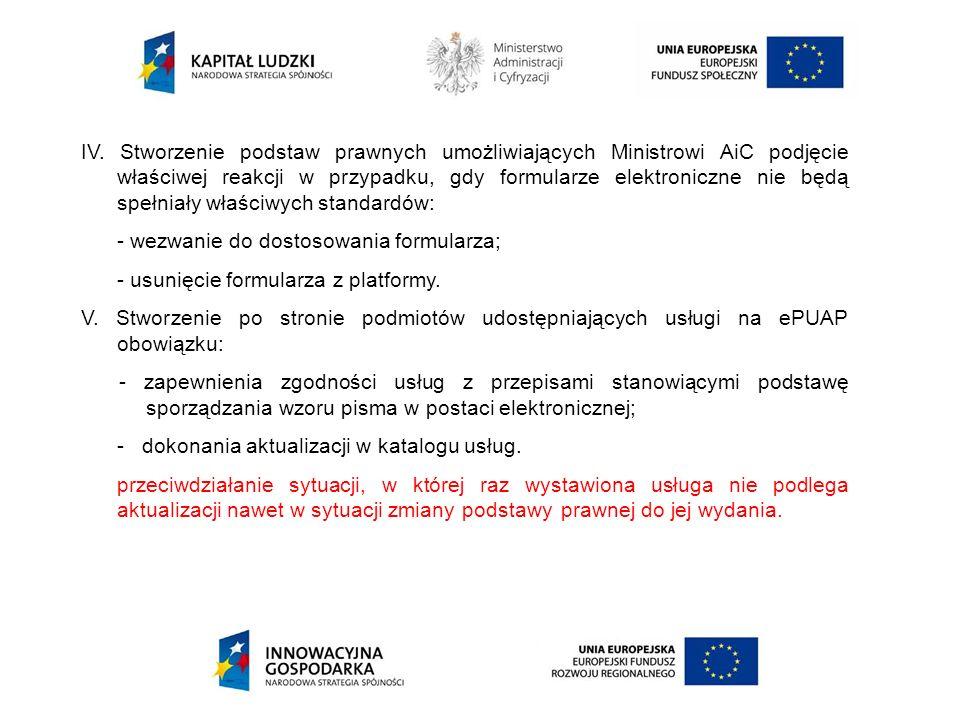 IV. Stworzenie podstaw prawnych umożliwiających Ministrowi AiC podjęcie właściwej reakcji w przypadku, gdy formularze elektroniczne nie będą spełniały właściwych standardów: