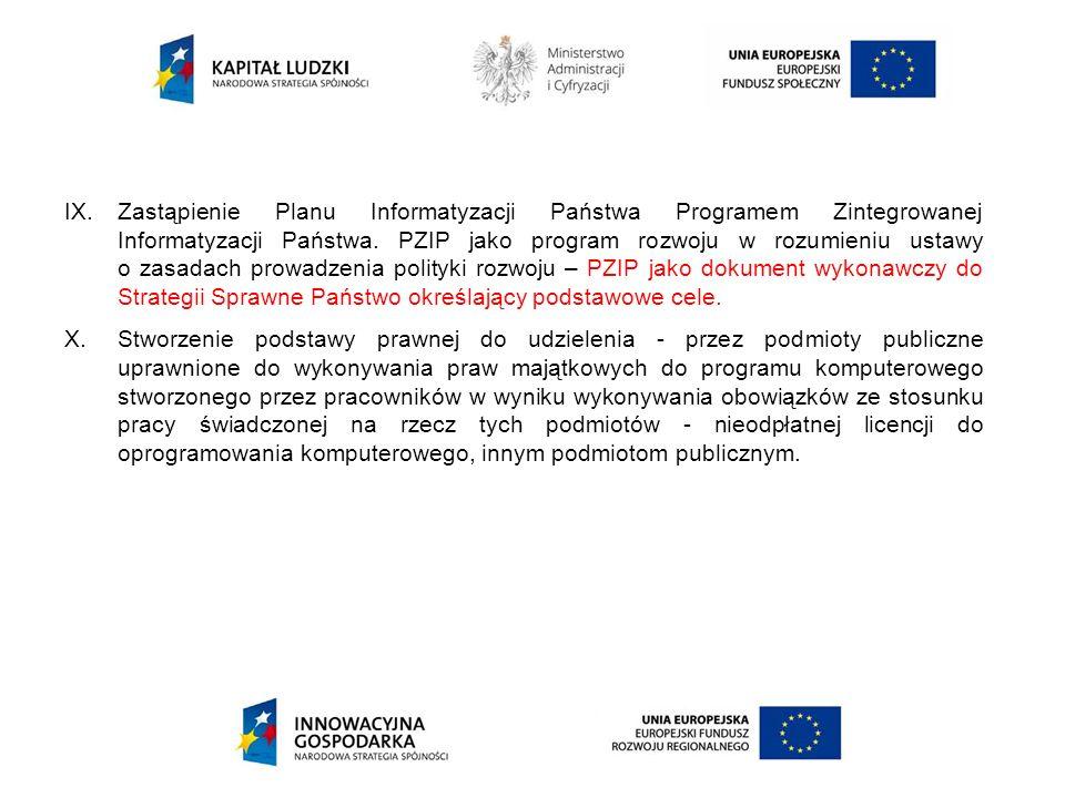 Zastąpienie Planu Informatyzacji Państwa Programem Zintegrowanej Informatyzacji Państwa. PZIP jako program rozwoju w rozumieniu ustawy o zasadach prowadzenia polityki rozwoju – PZIP jako dokument wykonawczy do Strategii Sprawne Państwo określający podstawowe cele.