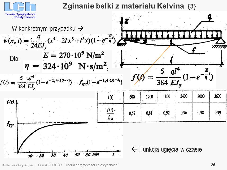 Zginanie belki z materiału Kelvina {3}