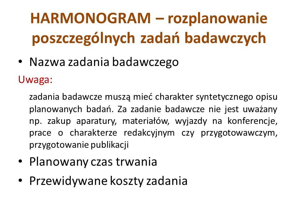 HARMONOGRAM – rozplanowanie poszczególnych zadań badawczych