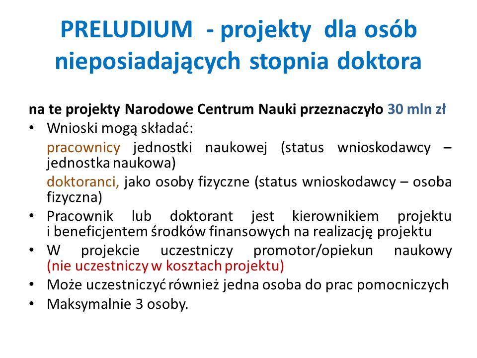 PRELUDIUM - projekty dla osób nieposiadających stopnia doktora