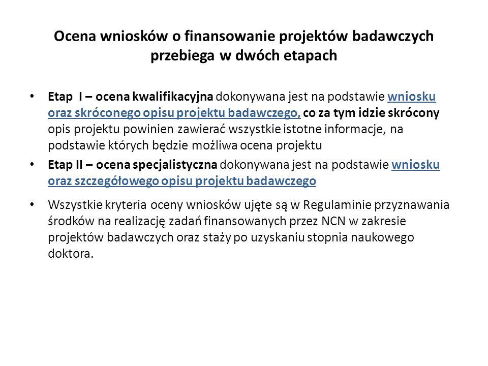 Ocena wniosków o finansowanie projektów badawczych przebiega w dwóch etapach