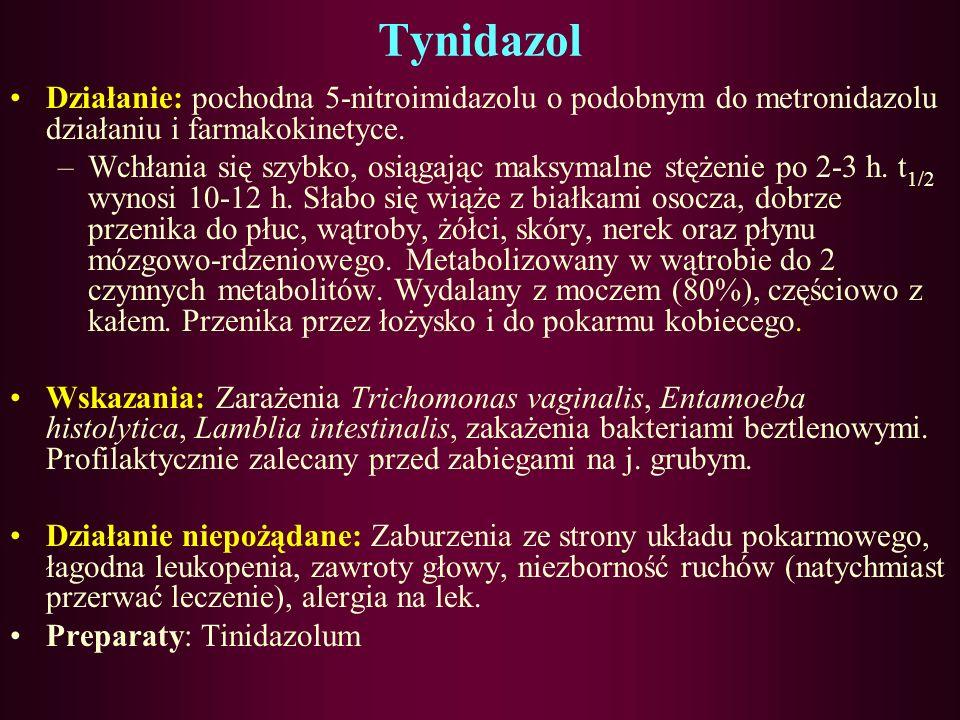Tynidazol Działanie: pochodna 5-nitroimidazolu o podobnym do metronidazolu działaniu i farmakokinetyce.