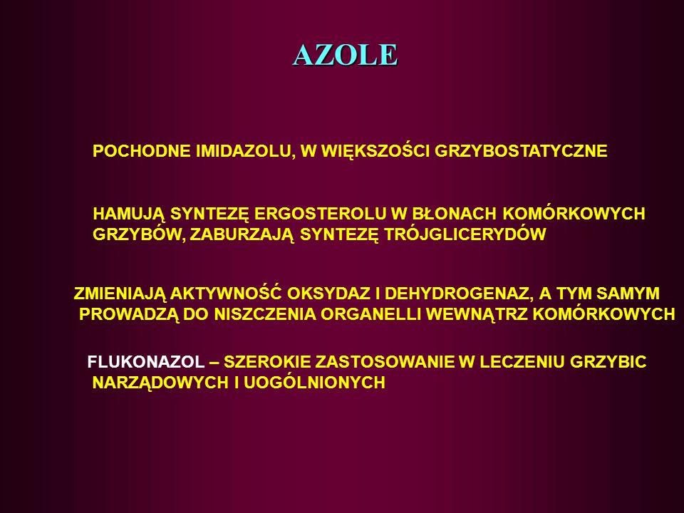 AZOLE POCHODNE IMIDAZOLU, W WIĘKSZOŚCI GRZYBOSTATYCZNE