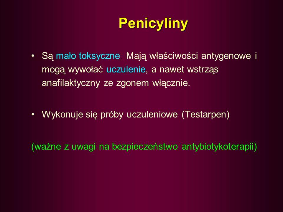 Penicyliny Są mało toksyczne. Mają właściwości antygenowe i mogą wywołać uczulenie, a nawet wstrząs anafilaktyczny ze zgonem włącznie.