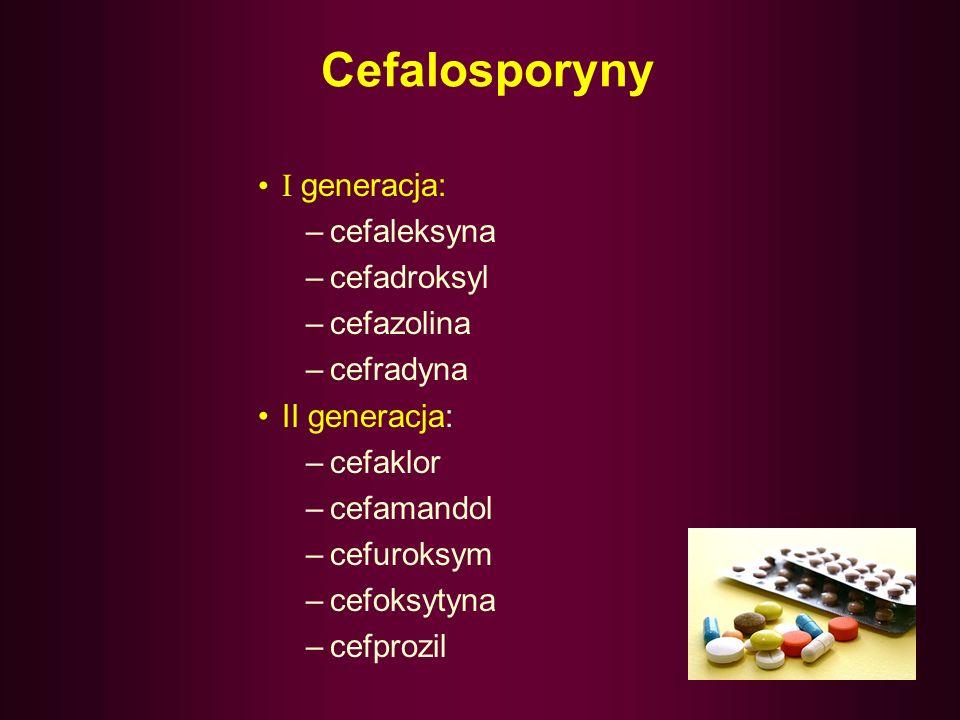 Cefalosporyny I generacja: cefaleksyna cefadroksyl cefazolina