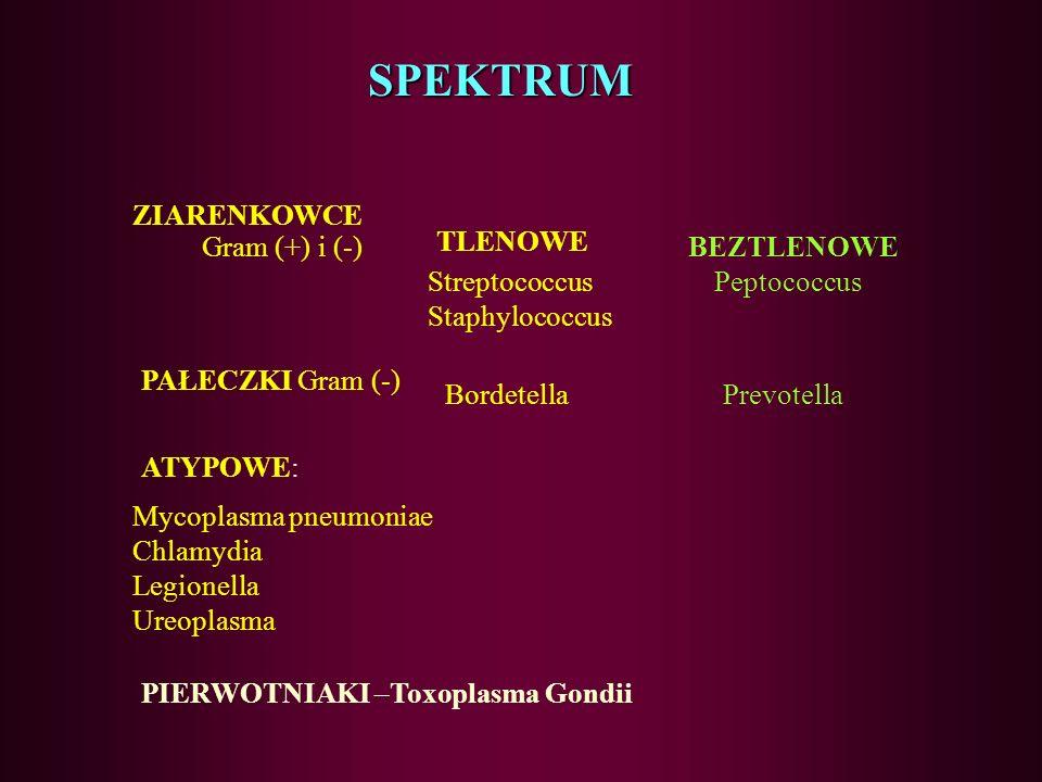 SPEKTRUM ZIARENKOWCE Gram (+) i (-) TLENOWE BEZTLENOWE Streptococcus