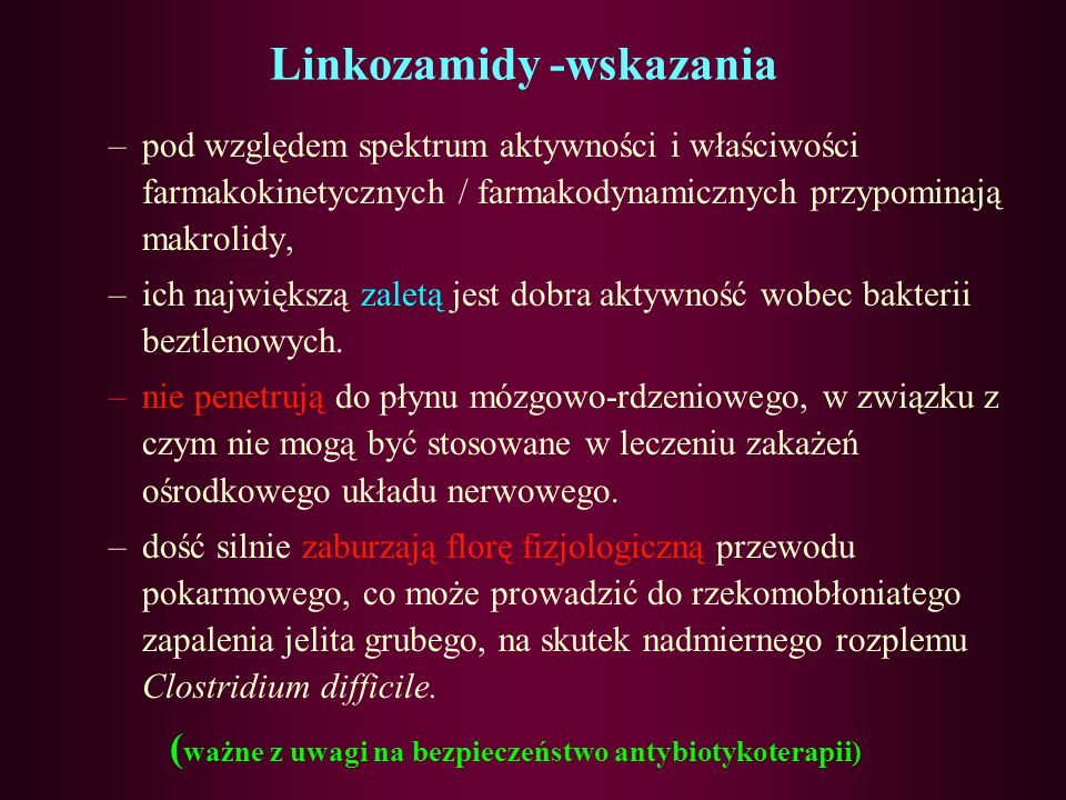 Linkozamidy -wskazania