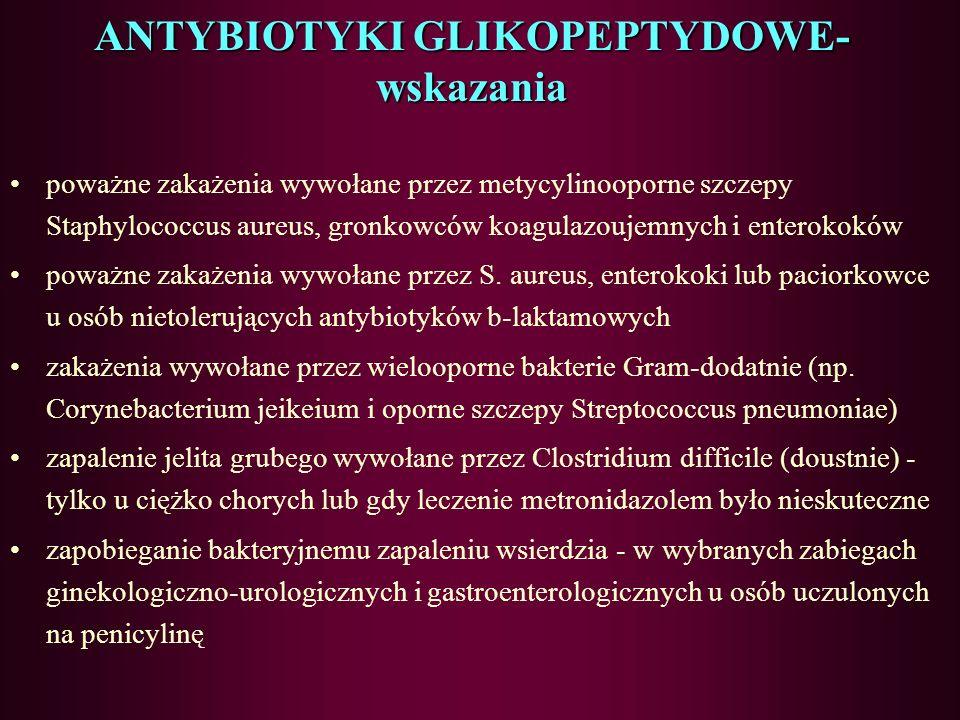 ANTYBIOTYKI GLIKOPEPTYDOWE- wskazania