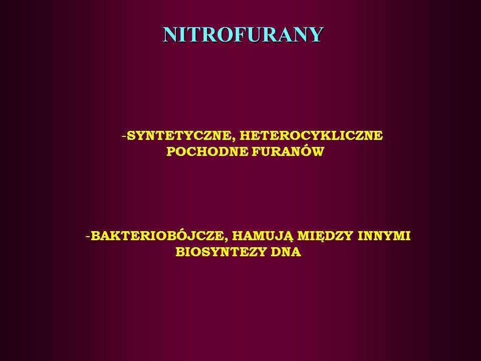 NITROFURANY SYNTETYCZNE, HETEROCYKLICZNE POCHODNE FURANÓW