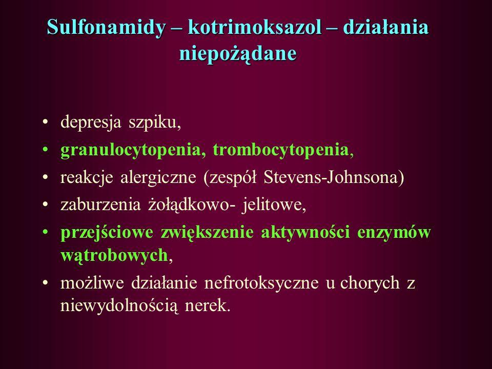 Sulfonamidy – kotrimoksazol – działania niepożądane