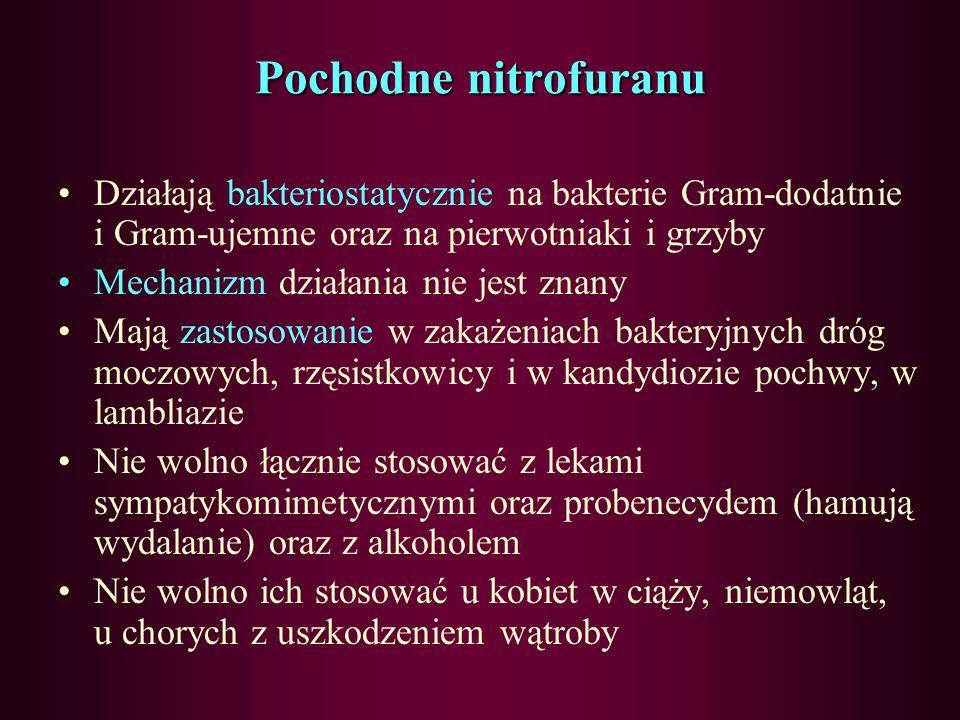 Pochodne nitrofuranu Działają bakteriostatycznie na bakterie Gram-dodatnie i Gram-ujemne oraz na pierwotniaki i grzyby.