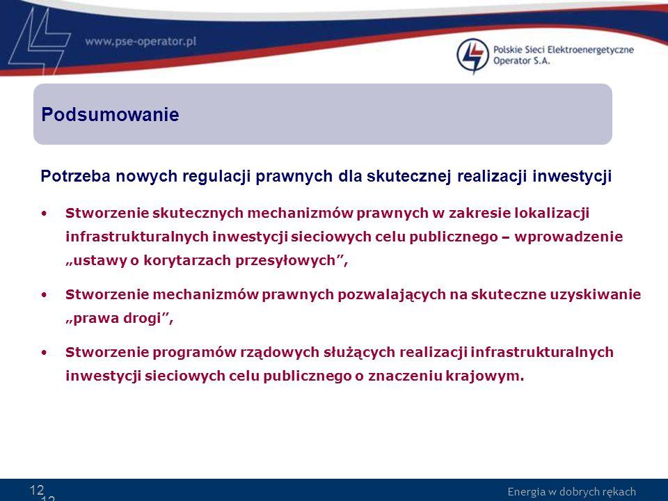Podsumowanie Potrzeba nowych regulacji prawnych dla skutecznej realizacji inwestycji.