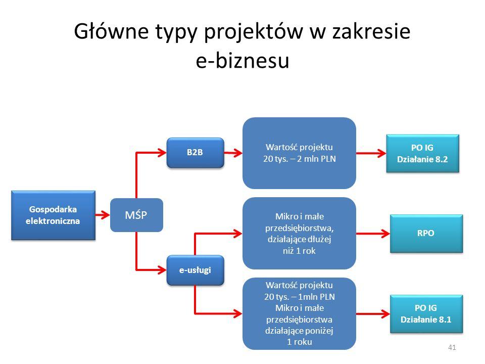 Główne typy projektów w zakresie e-biznesu