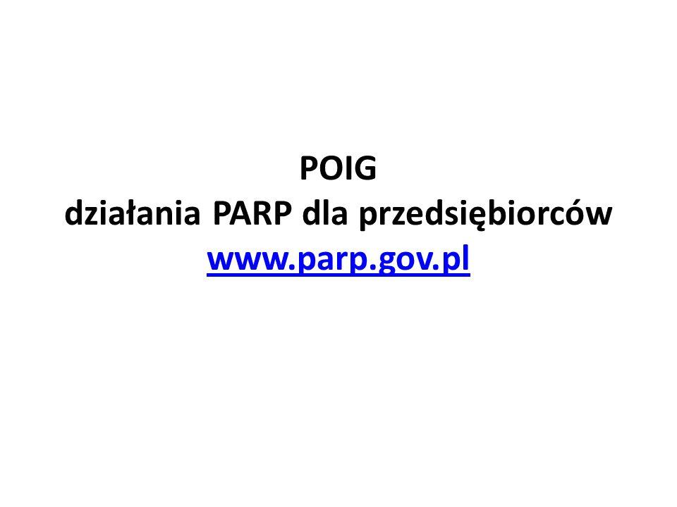 POIG działania PARP dla przedsiębiorców www.parp.gov.pl