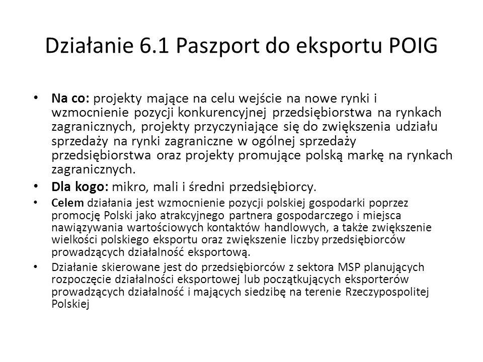 Działanie 6.1 Paszport do eksportu POIG