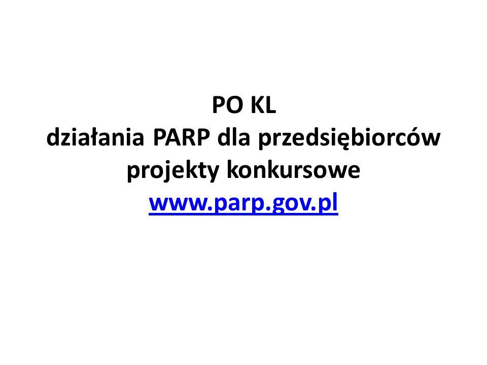 PO KL działania PARP dla przedsiębiorców projekty konkursowe www. parp