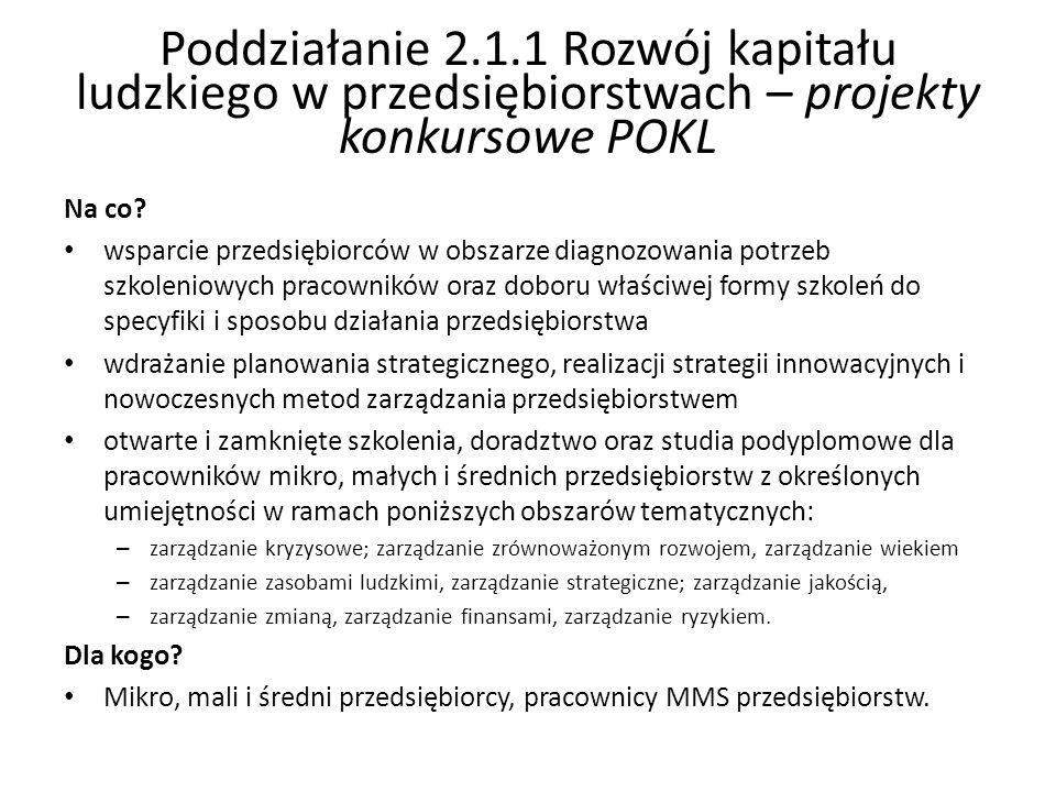 Poddziałanie 2.1.1 Rozwój kapitału ludzkiego w przedsiębiorstwach – projekty konkursowe POKL