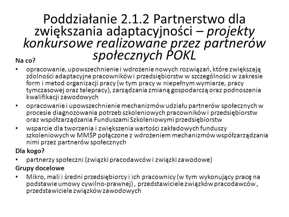 Poddziałanie 2.1.2 Partnerstwo dla zwiększania adaptacyjności – projekty konkursowe realizowane przez partnerów społecznych POKL