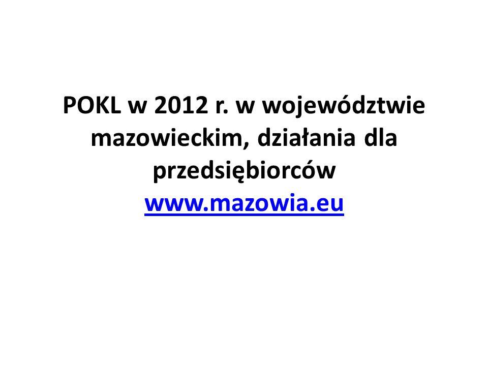 POKL w 2012 r. w województwie mazowieckim, działania dla przedsiębiorców www.mazowia.eu
