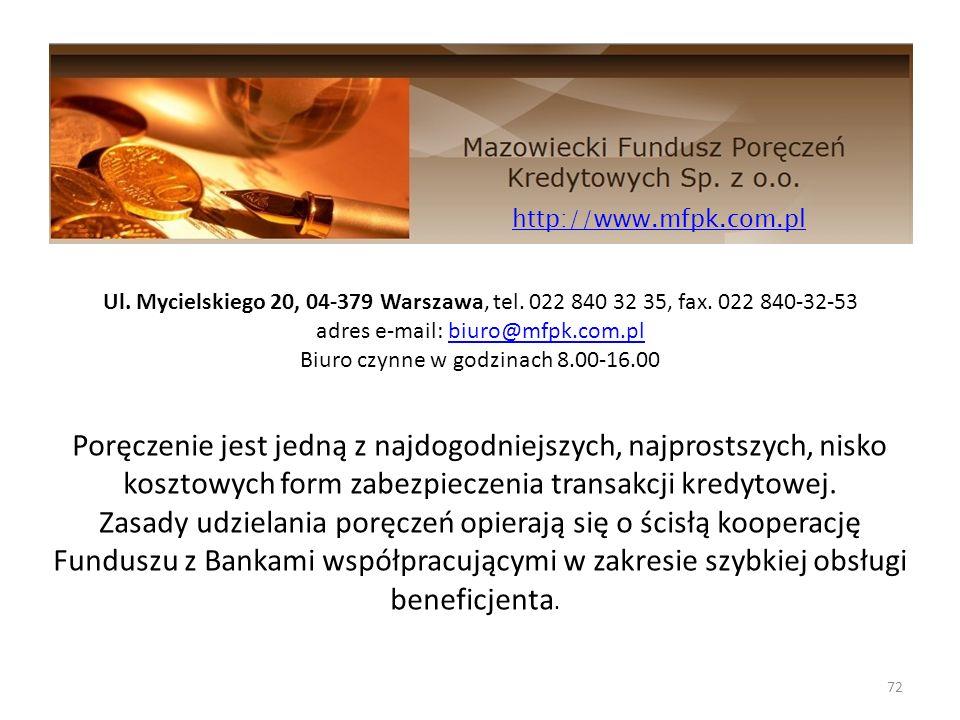 http://www.mfpk.com.pl Ul. Mycielskiego 20, 04-379 Warszawa, tel. 022 840 32 35, fax. 022 840-32-53.