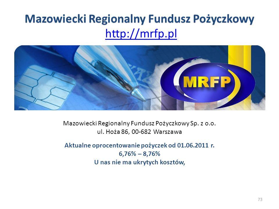 Mazowiecki Regionalny Fundusz Pożyczkowy http://mrfp.pl