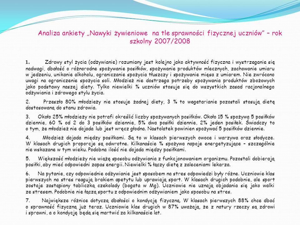 """Analiza ankiety """"Nawyki żywieniowe na tle sprawności fizycznej uczniów – rok szkolny 2007/2008"""