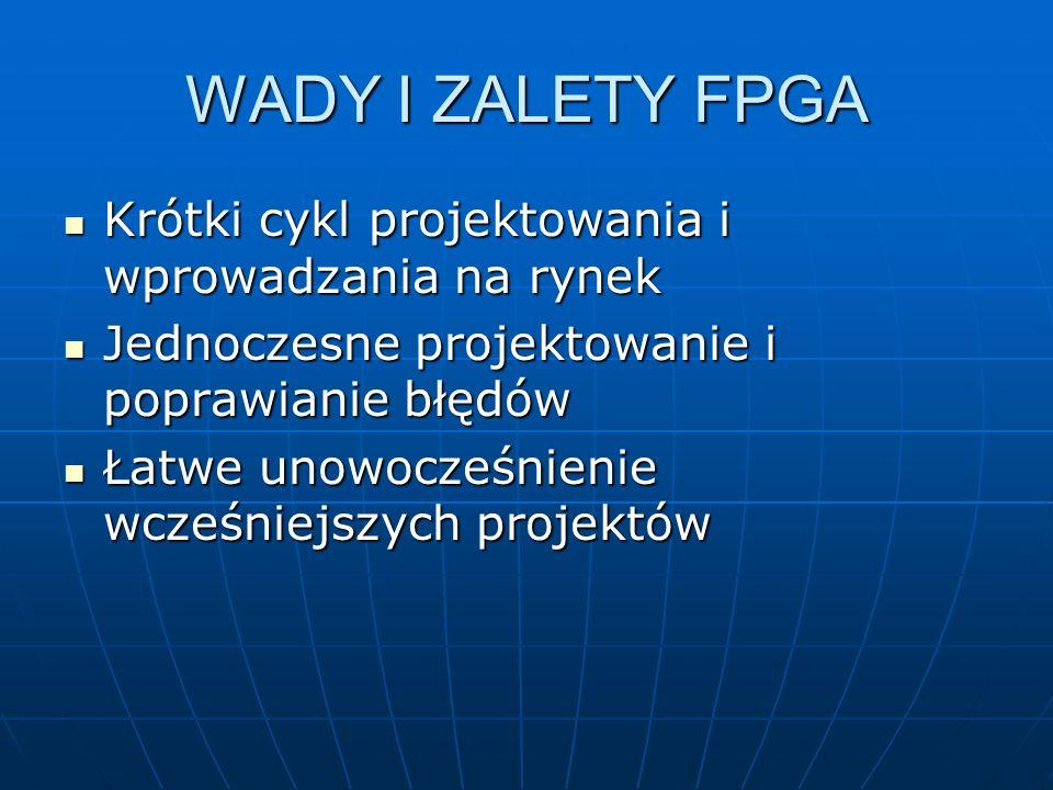 WADY I ZALETY FPGA Krótki cykl projektowania i wprowadzania na rynek