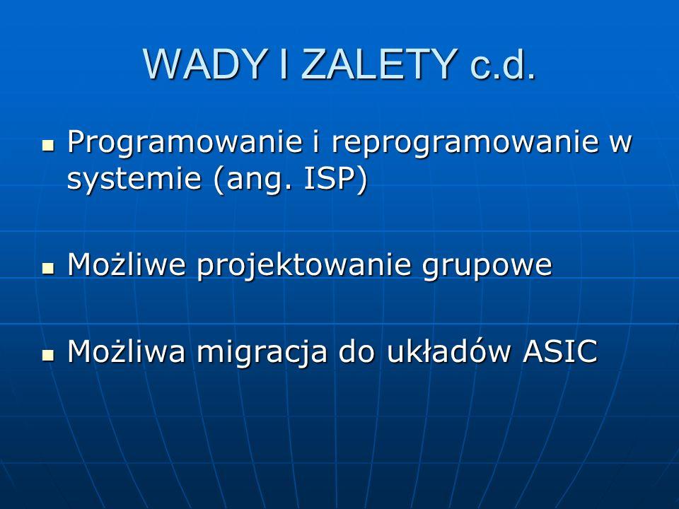 WADY I ZALETY c.d. Programowanie i reprogramowanie w systemie (ang. ISP) Możliwe projektowanie grupowe.