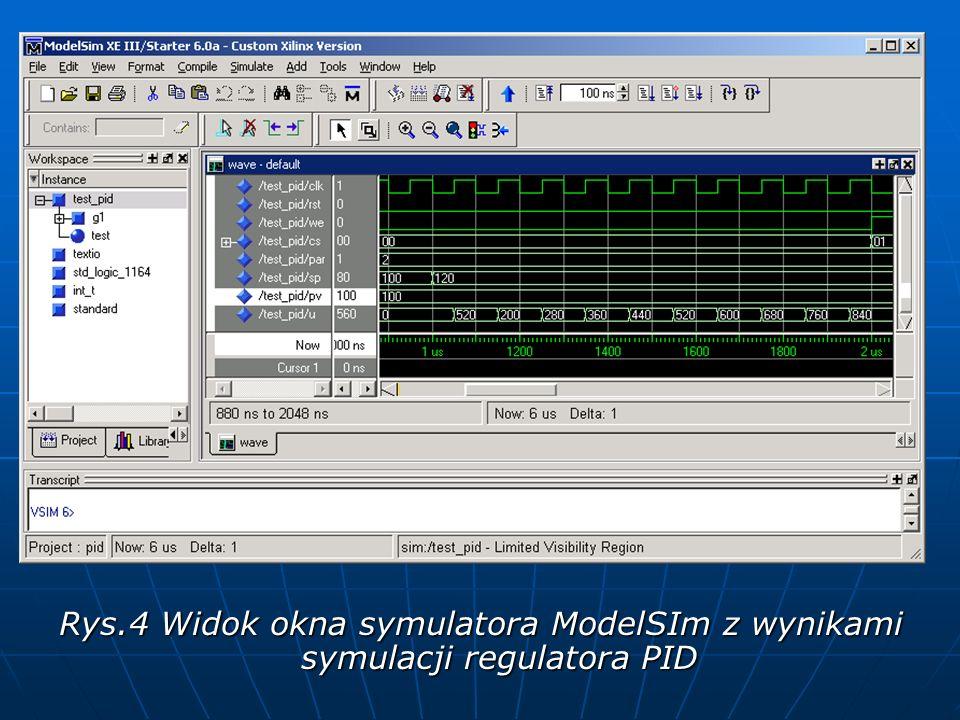 Rys.4 Widok okna symulatora ModelSIm z wynikami symulacji regulatora PID