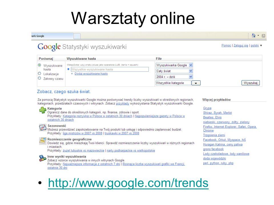 Warsztaty online http://www.google.com/trends